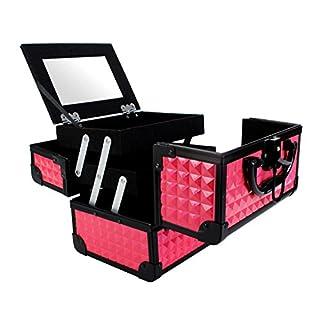 Malette Maquillage Cas de Vanité Boîte de Maquillage Stockage de Vernis à Ongles Organisateur Cosmétique Avec Miroir, 19.5x15x16cm Rose