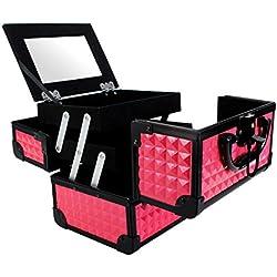 Maletin de Maquillaje Extensible con Espejo, Caja para Cosméticos Joyería para Viaje, 19.5 x 15 x 16 cm, Color Rosa