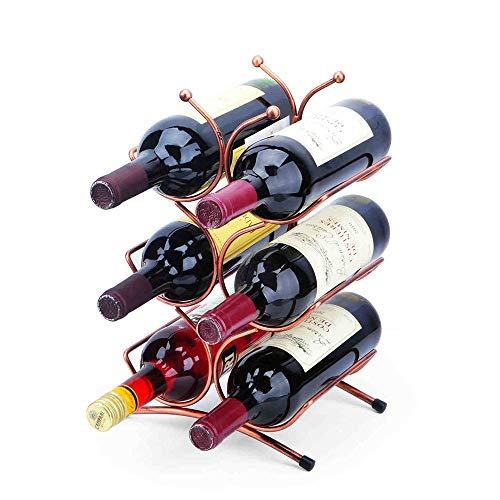 Weinregal-Verkaufsregal Küchentischwein Storage Rack Wein-Speicher-Organisator Display Rack Freistehende Wine Rack Hält 6 Flaschen (Farbe : Rosa, Größe : 35x21x15cm)
