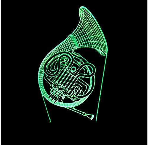 Tywwan 3D Lampe Horn Für Blasinstrumente Nachtlicht Kinder Illusion Stimmungslicht Fernbedienung Nachttischlampe 7 Farben Ändern Touch Switch Schreibtisch Lampen
