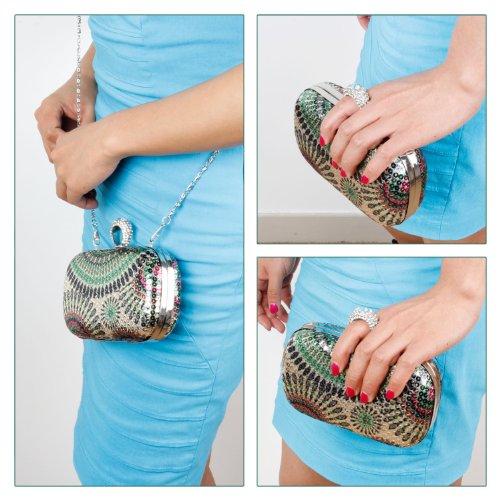 BMC Kleine Abendtasche mit strassverziertem Ring als Griff in verschiedenen Dessins, die ??Freigeist?? Kollektion Party Girl