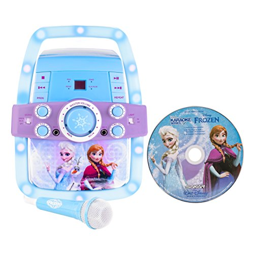 Disney – Frozen Karaoke Set – Anna Elsa Olaf – Microphone and Flashing Lights – AUX port for iPhone iPod Android MP3 Player