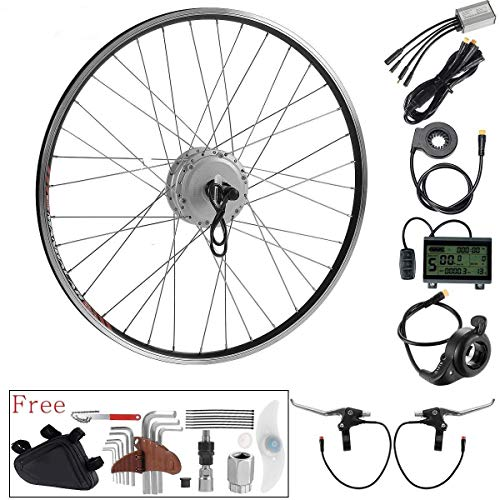 E Bike Umbbausatz 28 Zoll, Ebike Conversion Kit, Elektrofahrrad Heckmotor Hinterrad Motor für Steckkranz in Silber oder Schwarz (Silber) (Bike-motoren-kit 18)