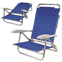Spiaggina con cuscino e braccioli in alluminio anodizzato tubolare ¯ 22 mm. - Reclinabile - Telo in textilene colore blu oppure verde Misure 39x52x16/82 cm