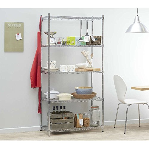 Heavy Duty Chrome Shelving Unit – 6 Shelves, H1800 x W900 x D450 mm. Extra Strong High Quality Steel Shelves Ideal for Kitchens, Offices, Stockrooms, Retail Shops and more