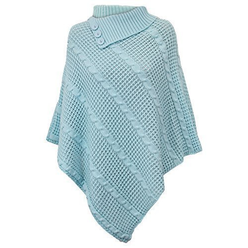 Poncho Châle Femme Maille Style Cape Hiver Col Montant Rose - GPOUN2