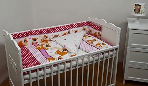 Velinda 6-tlg. Baby-Bettwäsche-Set Decke 150x120 Bettzeug Bettbezug für Babybett 140x70 (Muster: Bär_Rosa-Rot)