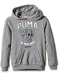 1b8f33692f Puma, Felpa con Cappuccio Bambino, Grigio (Medium Gray Heather), 116 cm