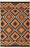 Second Nature Alwar mit Wolle –, braun, rot, Kilim Teppich mit Fair-Trade, 120x 180cm