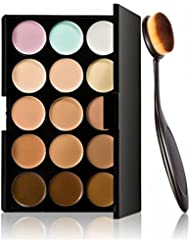 Susenstone 1set cosméticos maquillaje colorete cepillo curva cepillo de base con 15 colores corrector