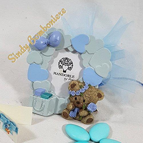 Bomboniera portafoto cornice cuori orsetto con fiore bimbo battesimo nascita