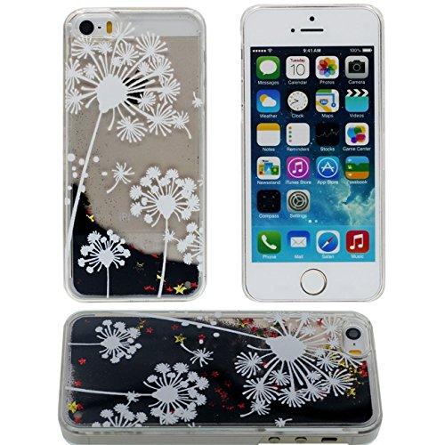 Apple iPhone 5 5S SE Coque Protection Case, Flowable Noir Poudre / Étoiles Eau Liquide Style Rigide Dur Transparent Housse de protection - Lover Motif color-3