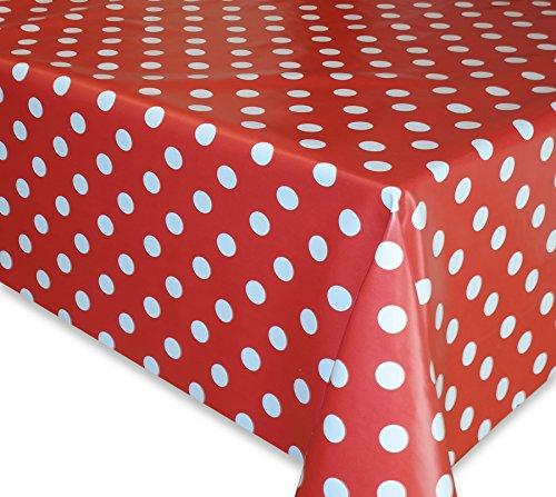 Wachstuch Tischdecke, Gartentischdecke, Eckig Rund Oval, Motiv u. Größe wählbar, (Punkte-Motiv, Weiss-rot, Eckig 140x220)