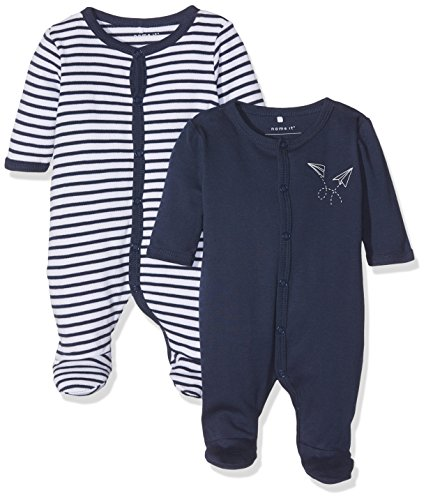 NAME IT Baby-Jungen Schlafstrampler Nbmnightsuit 2P W/F Dress Blue Noos, 2er Pack, Mehrfarbig (Dress Blues), 68