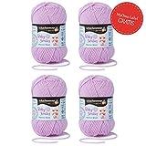Baby Wolle mauve * 4x Baby Smiles Merino Wool Schachenmayr (je 25g) * kuschelweiche Babywolle zum Stricken lila (Fb 1034) – pflegeleichtes Baby Garn – Wolle für Babys + GRATIS MyOma Label – Babygarn