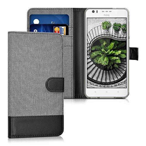 kwmobile Wallet Case Canvas Hülle für > HTC Desire 10 Lifestyle < - Flip Tasche mit Kartenfach und Ständer in Grau Schwarz