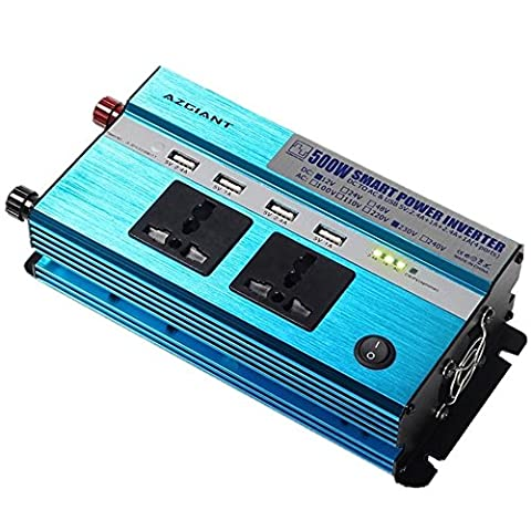 Azgiant 500W Car Power Inverter for DC 12V to AC 230V Voltage Converter with 2 Electrical Outlets & 4 USB Car Charger Exquisite Aluminum Shell Compact and Durable