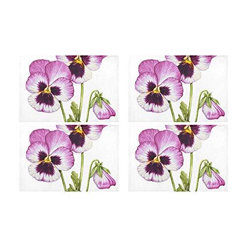 Zemivs Pansy Flower Wild Spring Rutschfeste schmutzabweisend Wärmedämmung Waschbar Platzdeckchen Tischset Für Baby Und Damen Runden Essentisch Küchentisch 12