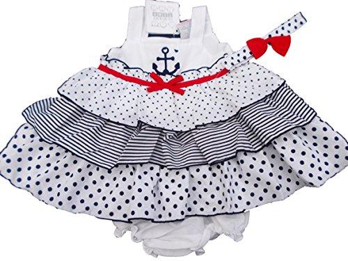 BNWT-ragazza estate blu navy e bianco marinaio vestito costume 6-9m, 9-1212-18M Navy 9-12 Mesi