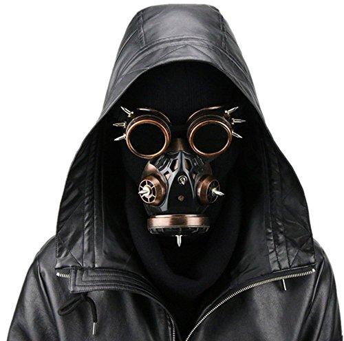Damen Fashion Steampunk Brillen Gas Maske Halloween Requisiten Geschenk Einheitsgröße Red Copper ()
