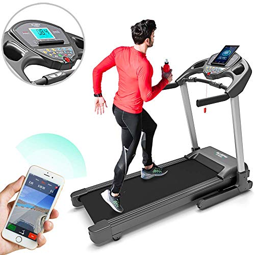 Bluefin Fitness Kick High-Speed Laufband | Leise | 20 km/h + 7 PS + 15% Steigung | Gelenkschonende Technologie | Digitale Fitnesskonsole | App + Bluetooth-Lautsprecher + Herzfrequenzsensoren (Scwarz)