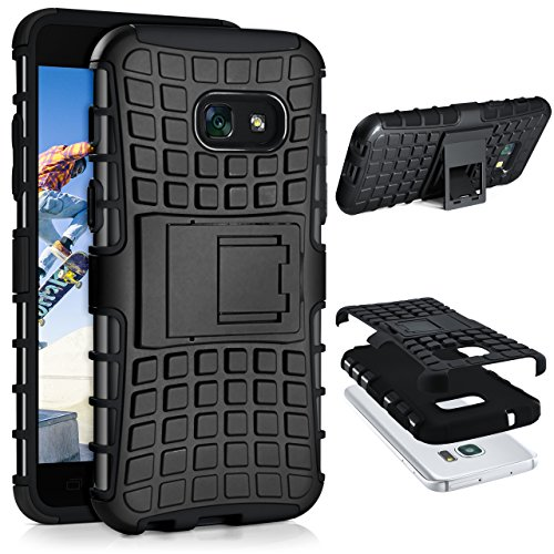 Hard Bumper Case Cover (Samsung Galaxy A3 (2017) Hülle Silikon Hard-Case Schwarz [OneFlow Outdoor Back-Cover] Extrem Stoßfest Schutzhülle Grip Handyhülle für Samsung Galaxy A3 2017 Case Rückseite Tasche)