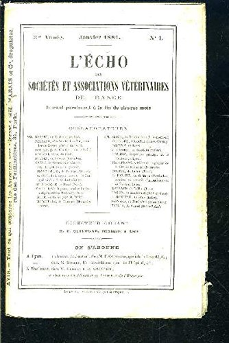 L ECHO DES SOCIETES- N°1- JAN 1881- 3ème année- ET ASSOCIATIONS VETERINAIRES DE FRANCE