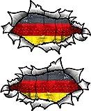 Klein Hand Paar Oval Ripped öffnen Torn Metall Effekt Design mit Deutschland Deutsch Flagge Vinyl...