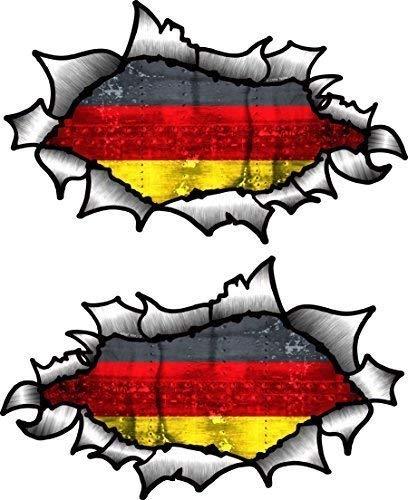 Klein Hand Paar Oval Ripped öffnen Torn Metall Effekt Design mit Deutschland Deutsch Flagge Vinyl Motorrad Helm Aufkleber 85x 50mm je