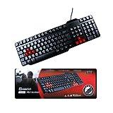 Gaming Multimedia USB Tastatur wasserdicht (rot und schwarz)