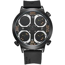 Alienwork Sport Quartz Watch Multi Time Zones Wristwatch XXL Oversized Polyurethane black black OS.UV1503-6