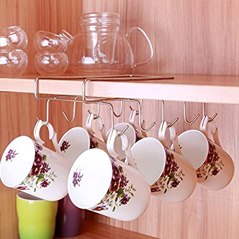 Porte-tasses à 10crochets pour placer sous une étagère, meuble de rangement, armoire de cuisine, Chrome argenté