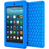 MoKo Nuevo Amazon Fire 7 2017 Funda ( 7 pulgadas, 7ª generación) - LightWeight Cubierta ShockProof Cover Case Esquina Silicona Protector Parachoques para All-New Fire 7 Tableta, Azul