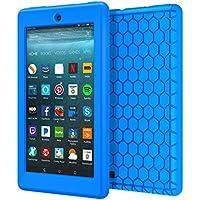 MoKo Nuevo Amazon Fire 7 2017 Funda ( 7 pulgadas, 7ª generación) - LightWeight Cubierta ShockProof Cover Case Esquina Silicona Protector Parachoques para All-New Fire 7 Tableta, Azul
