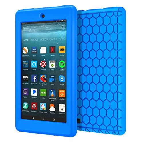 -New Amazon Fire 7 Tablet (7 Zoll - 7. Generation, 2017 Modell) - [Honey Comb Series] Leichte Rutschfeste Stoßfeste Silikon Schutzhülle Protector Case, Blau ()