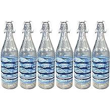 Juego 6Piezas Botella Cerve 1000cc (1litro) elegante con tapón mecánico hermética para agua Bebidas con decoro Acuario Peces