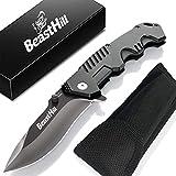 BEASTHILL Couteau Pliant - Facile à Manipuler - Haute Qualité - Couteau de Poche Pliable Tranchant - Offert : Etui Ceinture Rigide - Couteau de Survie Multifonction Design avec verrou sécurité