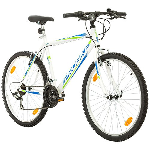 26 Zoll, CoollooK, PROBIKE, Fahrrad, Mountainbike, MTB Weiss Glanz, Rahmen 51 cm, 18-GANG EU-PRODUKT
