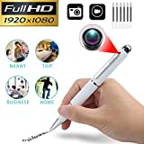Mini Hidden Spy Pen Camera,Real Full HD 1080P Nanny Cam Home Convert Security Camera Roller Ball Pen,Plug and Play, (White)