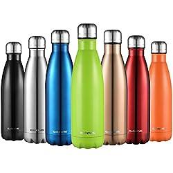 Cmxing Doppelwandige Thermosflasche 500 mL mit Tasche BPA-Frei Edelstahl Trinkflasche Vakuum Isolierflasche für Outdoor-Sport Camping Mountainbike (Grün, 500 mL)