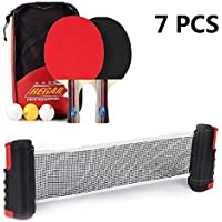 Konesky Table Tennis Bat Set, Extendable Net Bats Racket Game with 2 Bats and 3 Balls and 1 Table Tennis Net in a Carry Bag Perfect for School, Home, Sports Club, Office