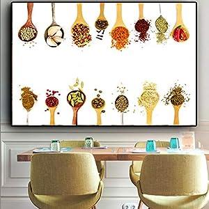 EBONP Leinwanddruck Plakat Leinwand Malerei Wand dekorative Gemüsekörner Gewürze Löffel Paprika Küche Leinwand Malerei…