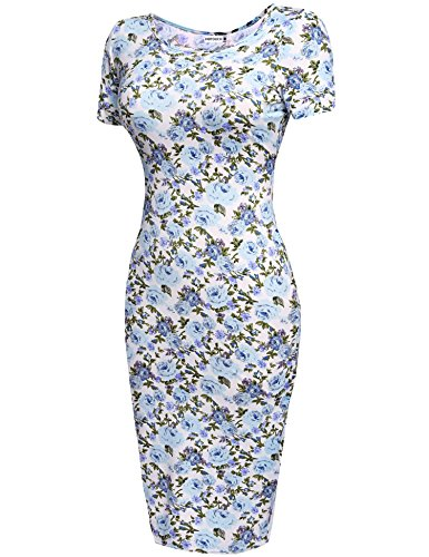 HOTOUCH Womens Slim Fit Floral Short Sleeve Midi Bodycon Business Dress(Blue,L)