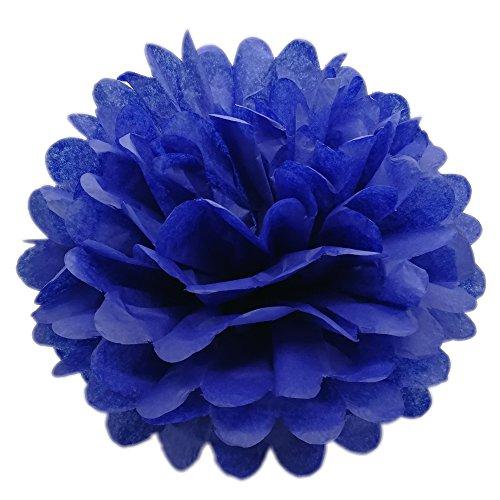 (CHSYOO 10x Blau Pom Pom Pompom Pompon, Durchmesser 25cm, seidenpapier Dekoration für Schlafzimmer Hochzeit Geburtstag Kinder Party Babyparty Taufe Weihnachten ...)