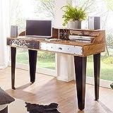 FineBuy Schreibtisch Jolin 120 x 54 x 90 cm Massivholz Computertisch Echtholz Büro | Sekretär Design Ablage Modern Rechteckig | Arbeitstisch Massiv Konsole Vintage