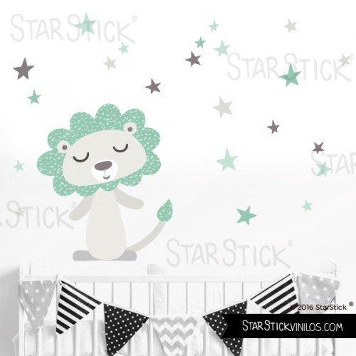 StarStick - Vinilo bebé León estilo nórdico 160x110 cm- Vinilos infantiles...