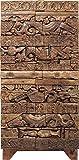 Kare 2trg Schrank Shanti Surprise Puzzle Nature, schmale, hohe Echtholz Kommode aus Mango Holz, braune Design Hochkommode, (H/B/T) 180x85x45 cm