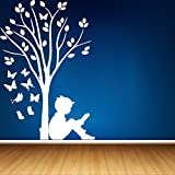 DreamKraft Boy Reading Under Tree & Butterflies Wall Sticker For Kids Room |Living Room|Bedroom|Office PVC Vinyl Art Decals(18X29 Inch)