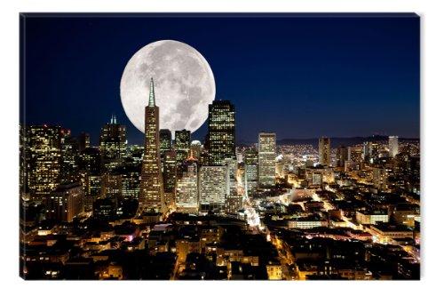 Startonight Cuadro sobre Lienzo La Luna llena de Ciudad, Impresion en Calidad Fotografica Enmarcado y Listo Para Colgar Diseño Moderno Decoración Formato Grande 60 x 90 CM