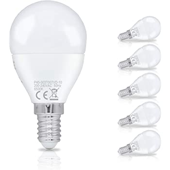 Hengda 3W P45 Bombilla LED esférica E14 ,equivalente a 25W, Blanco frío 6500K,Pack de 6 Unidades [Clase de eficiencia energética A+]